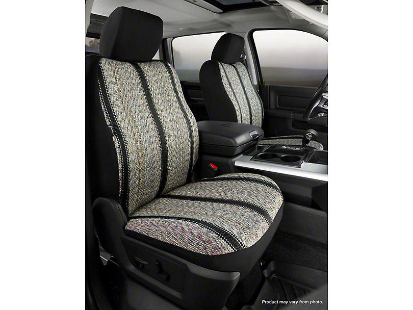Fia Custom Fit Saddle Blanket Front Seat Covers - Black (07-13 Silverado 1500 w/ Bucket Seats)