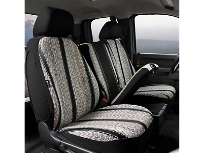 Fia Custom Fit Saddle Blanket Front Seat Covers - Black (07-13 Silverado 1500 w/ Bench Seat)