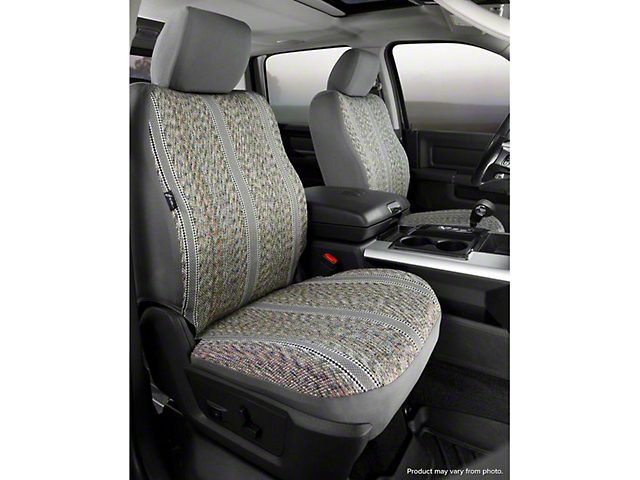 Fia Custom Fit Saddle Blanket Front Seat Covers - Gray (07-13 Silverado 1500 w/ Bucket Seats)