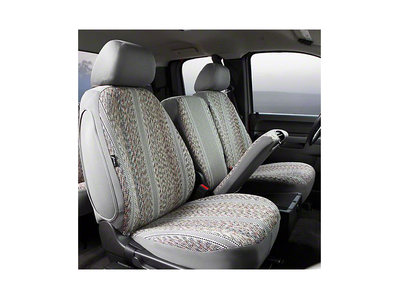 Fia Custom Fit Saddle Blanket Front Seat Covers - Gray (07-13 Silverado 1500 w/ Bench Seat)