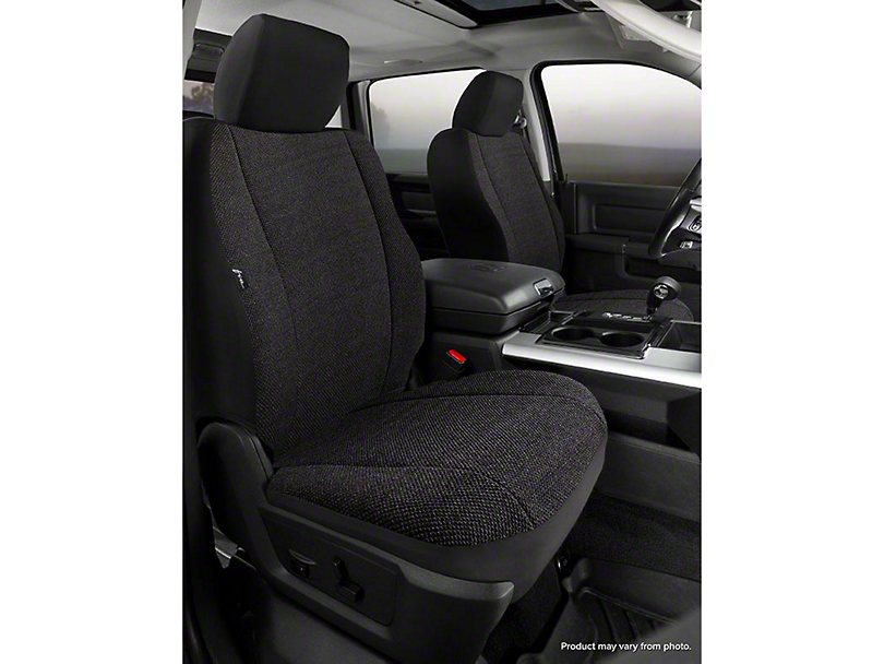 Fia Custom Fit Solid Saddle Blanket Front Seat Covers - Black (07-13 Silverado 1500 w/ Bucket Seats)