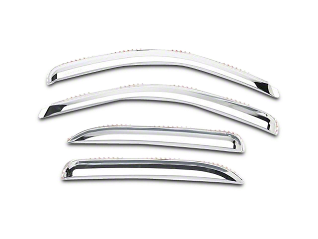Element Chrome Window Visors; Channel Mount; Front and Rear (07-13 Silverado 1500 Extended Cab, Crew Cab)