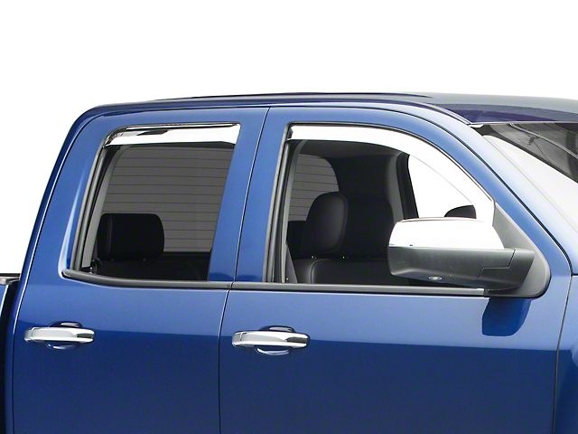 Putco Chrome Element Window Visors - Front & Rear (14-18 Silverado 1500 Double Cab, Crew Cab)