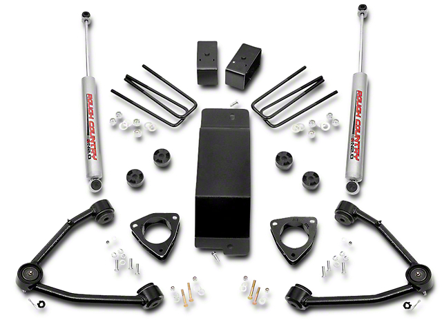 Rough Country 3.50-Inch Suspension Lift Kit with Upper Control Arms (07-16 4WD Silverado 1500 w/ Stock Cast Steel or Aluminum Control Arms)