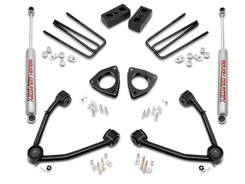Rough Country 3.5 in. Suspension Lift Kit w/ Upper Control Arms (07-16 2WD Silverado 1500 w/ Stock Cast Steel or Aluminum Control Arms)