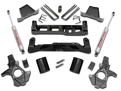 Rough Country 7 in. Suspension Lift Kit w/ Shocks (14-18 2WD Silverado 1500 w/ Stock Cast Steel Control Arms)