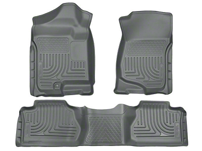 Husky WeatherBeater Front & 2nd Seat Floor Mats - Footwell Coverage - Gray (07-13 Silverado 1500 Extended Cab, Crew Cab)