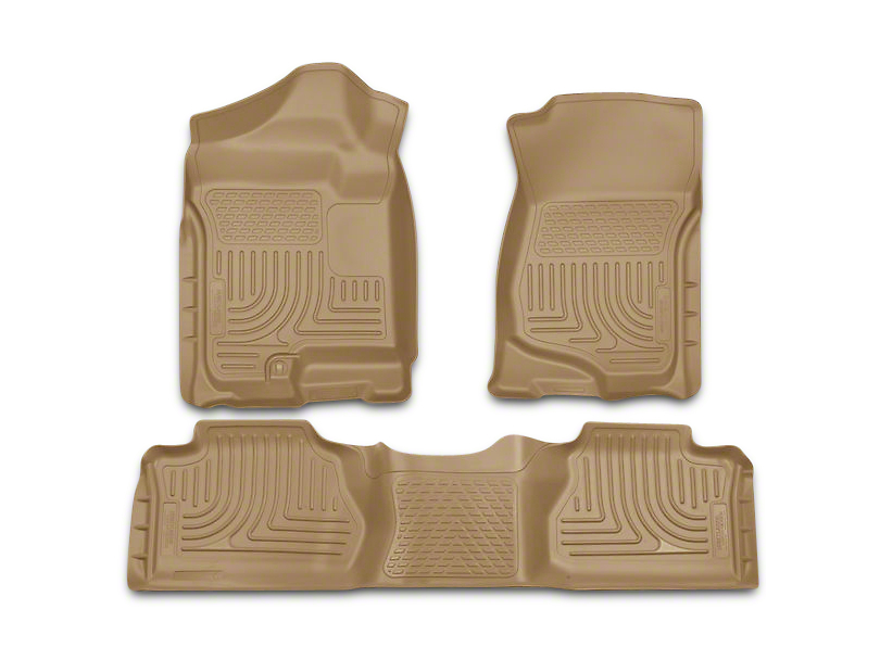 Husky WeatherBeater Front & 2nd Seat Floor Liners - Footwell Coverage - Tan (07-13 Silverado 1500 Extended Cab, Crew Cab)
