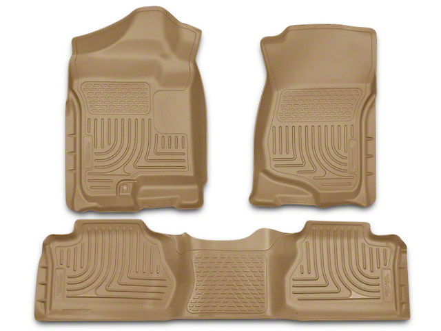 Husky WeatherBeater Front and Second Seat Floor Liners; Footwell Coverage; Tan (07-13 Silverado 1500 Extended Cab, Crew Cab)