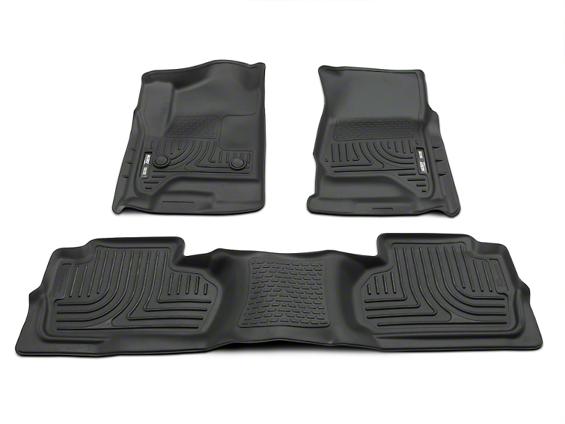 Husky WeatherBeater Front & 2nd Seat Floor Liners - Footwell Coverage - Black (14-18 Silverado 1500 Double Cab, Crew Cab)