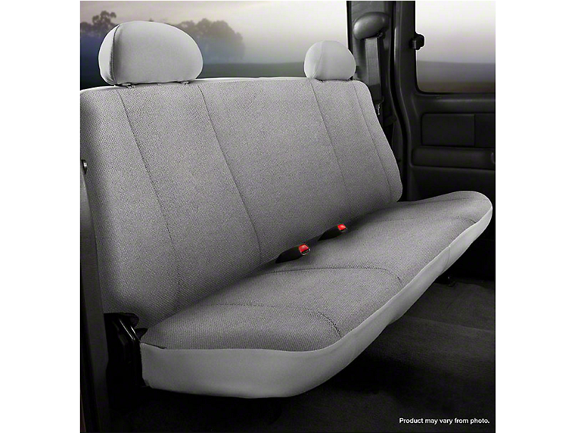 Fia Custom Fit Solid Saddle Blanket Rear Seat Cover - Gray (07-13 Silverado 1500 Extended Cab, Crew Cab)