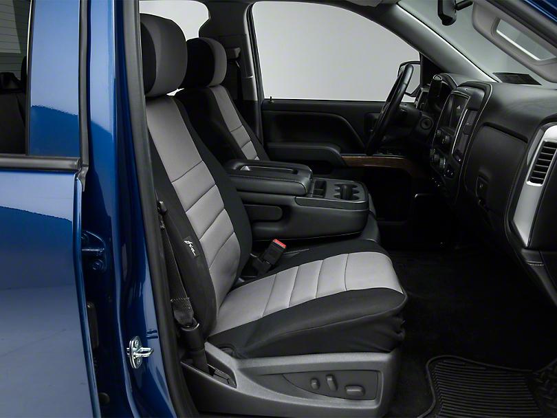 Fia Custom Fit Neoprene Front Seat Covers - Gray (14-18 Silverado 1500 w/ Bucket Seats)