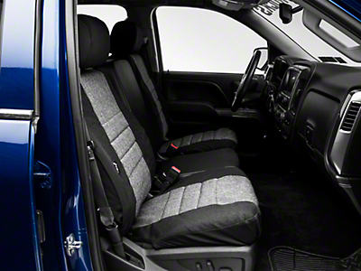Fia Custom Fit Tweed Front Seat Covers - Charcoal (14-18 Silverado 1500 w/ Bucket Seats)