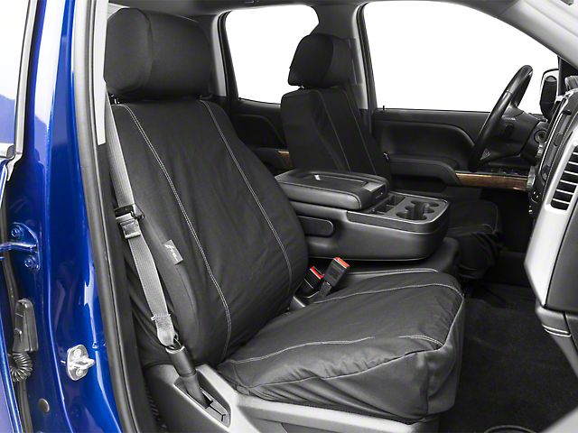 Fia Custom Fit Poly-Cotton Front Seat Covers - Black (14-18 Silverado 1500 w/ Bucket Seats)