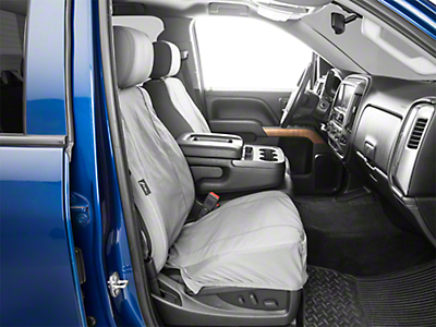 Fia Custom Fit Poly-Cotton Front Seat Covers - Gray (14-18 Silverado 1500 w/ Bucket Seats)