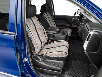 Fia Custom Fit Saddle Blanket Front Seat Covers - Black (14-18 Silverado 1500 w/ Bucket Seats)