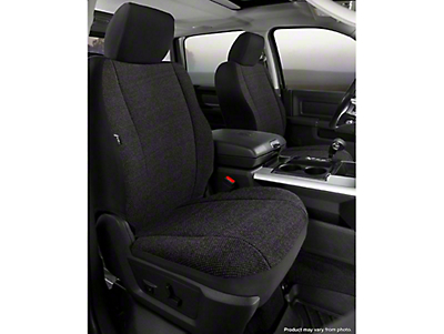 Fia Custom Fit Solid Saddle Blanket Front Seat Covers - Black (14-18 Silverado 1500 w/ Bucket Seats)
