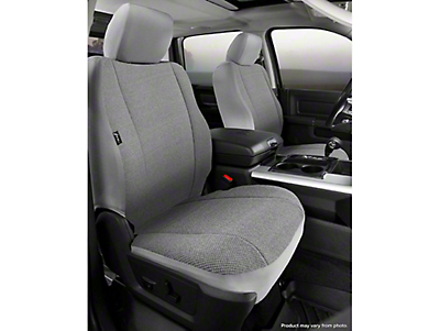 Fia Custom Fit Solid Saddle Blanket Front Seat Covers - Gray (14-18 Silverado 1500 w/ Bucket Seats)