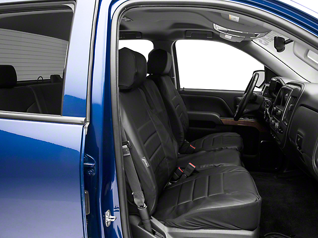 Fia Custom Fit Leatherlite Front Seat Covers - Black (14-18 Silverado 1500 w/ Bench Seat)