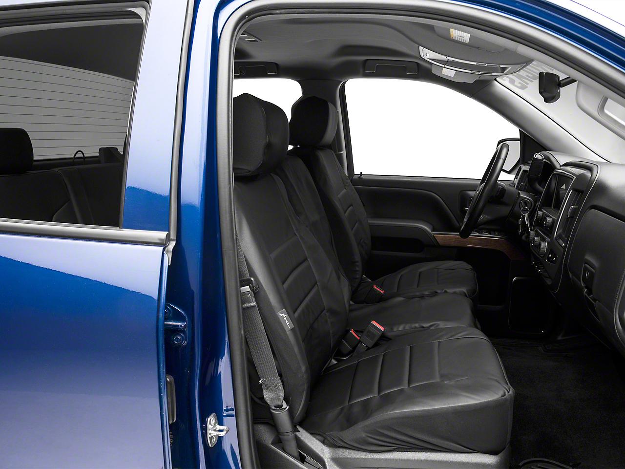 Fia Custom Fit Leatherlite Front Seat Covers - Black (14-18 Silverado 1500 w/ Bench Seat)
