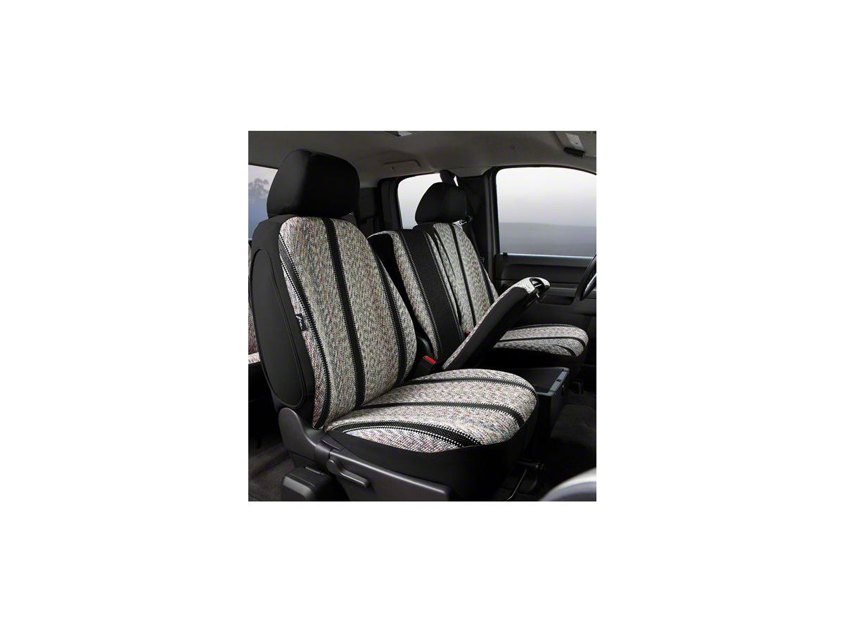 Fia Custom Fit Saddle Blanket Front Seat Covers - Black (14-18 Silverado  1500 w/ Bench Seat)
