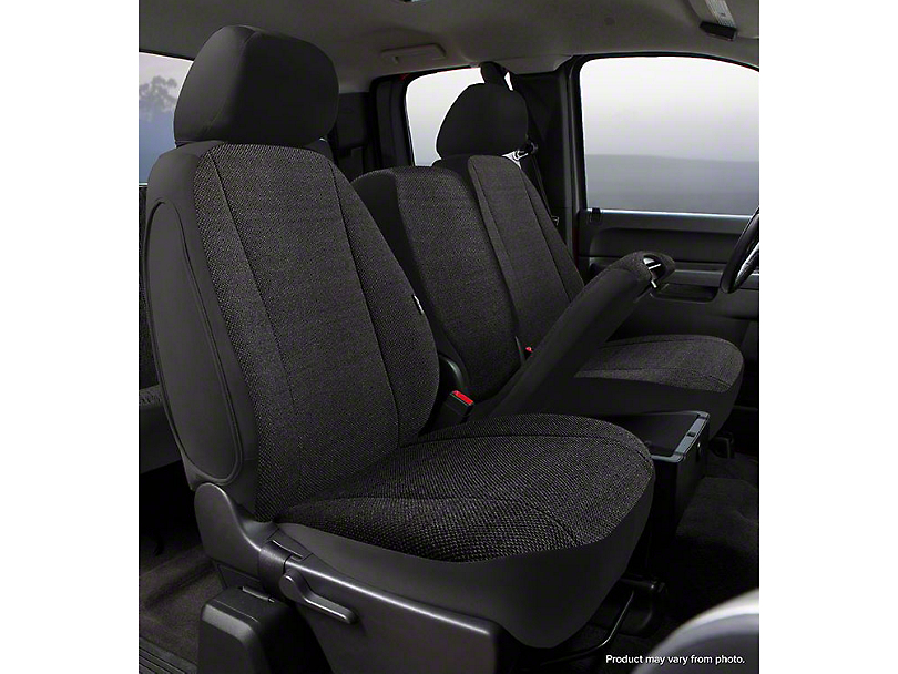 Fia Custom Fit Solid Saddle Blanket Front Seat Covers - Black (14-18 Silverado 1500 w/ Bench Seat)