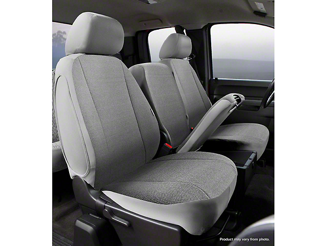 Fia Custom Fit Solid Saddle Blanket Front Seat Covers; Gray (14-18 Silverado 1500 w/ Bench Seat)
