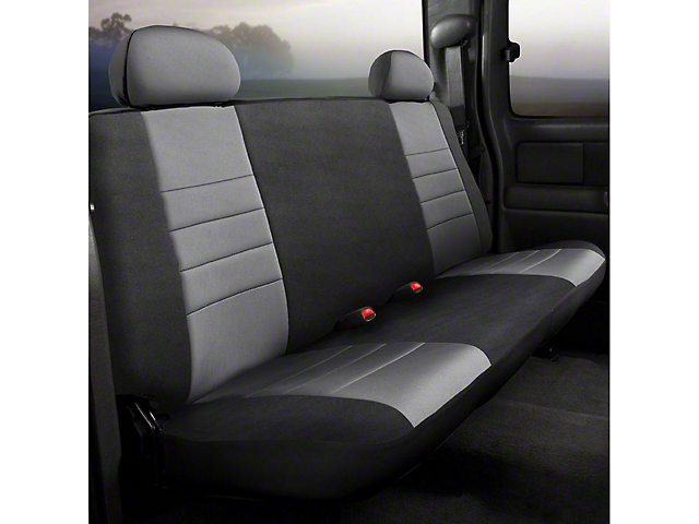 Fia Custom Fit Neoprene Rear Seat Cover - Gray (14-18 Silverado 1500 Double Cab, Crew Cab)