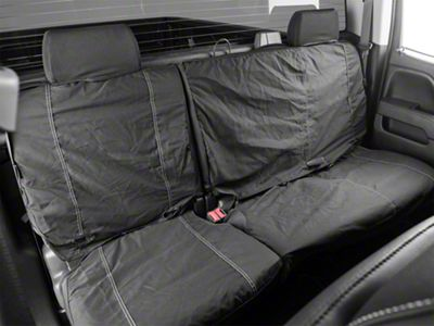 Fia Custom Fit Poly-Cotton Rear Seat Cover - Black (14-18 w/ 60/40 Split Bench Seat w/ Adjustable Headrests)