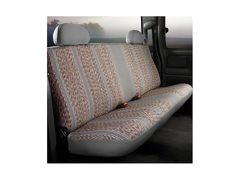 Fia Custom Fit Saddle Blanket Rear Seat Cover - Gray (14-18 Silverado 1500 Double Cab, Crew Cab)