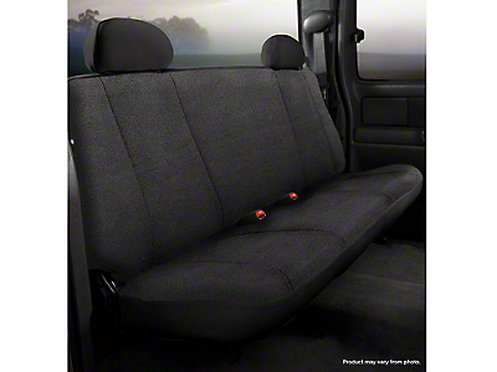 Fia Custom Fit Solid Saddle Blanket Rear Seat Cover - Black (14-18 Silverado 1500 Double Cab, Crew Cab)