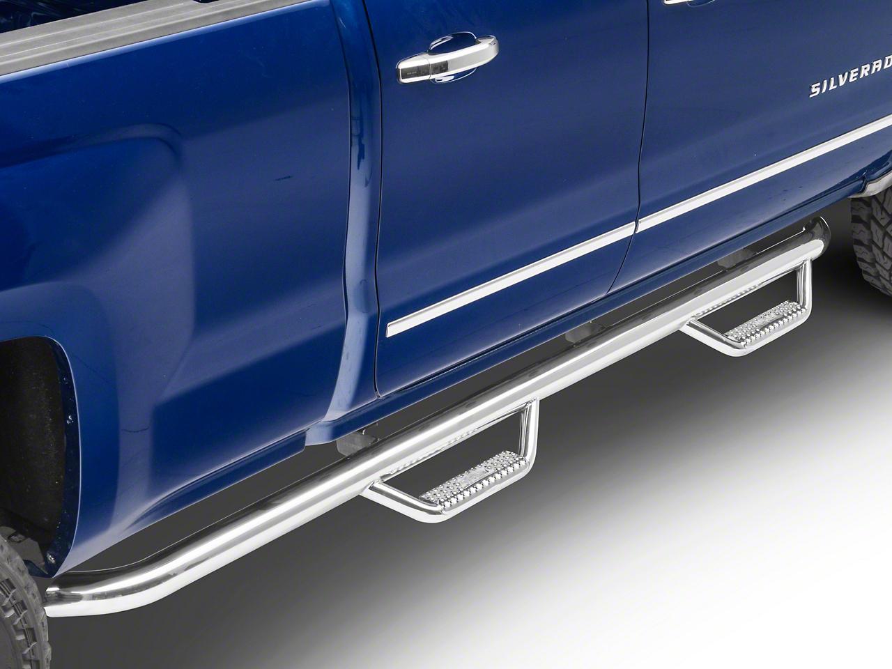 N-Fab Wheel 2 Wheel Nerf Side Step Bars - Polished Stainless (14-18 Silverado 1500 Double Cab, Crew Cab)