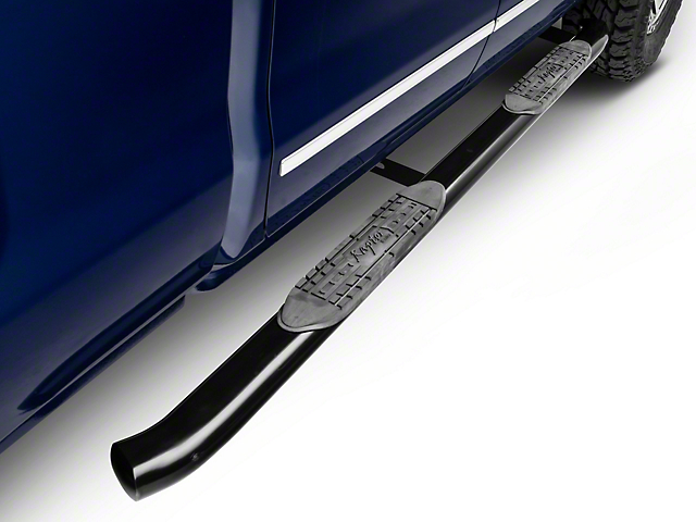 Raptor Series 4 in. OE Style Curved Oval Body Mount Side Step Bars - Black (14-18 Silverado 1500)