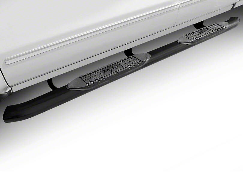 Raptor Series 4 in. OE Style Curved Oval Rocker Mount Side Step Bars - Black (07-13 Silverado 1500)