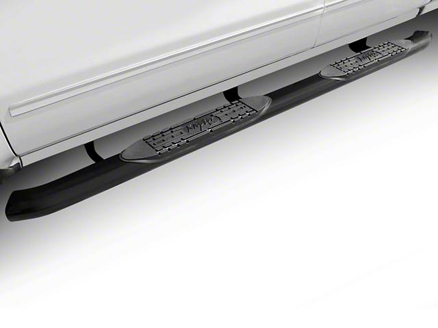 Raptor Series 4-Inch OE Style Curved Oval Side Step Bars; Rocker Mount; Black (07-13 Silverado 1500)