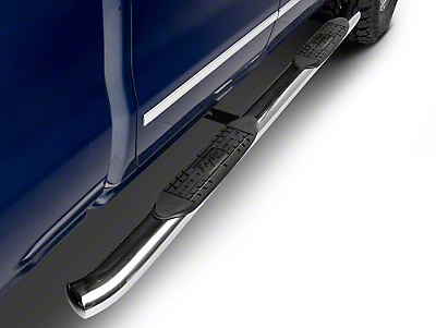 Raptor Series 4 in. OE Style Curved Oval Side Step Bars - Polished Stainless - Rocker Panel Mount (14-18 Silverado 1500)