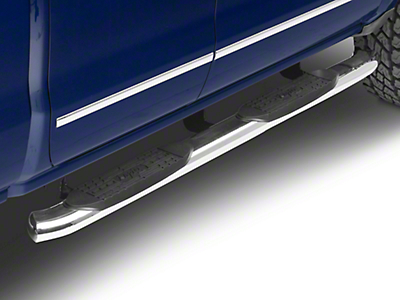 Raptor Series 5 in. OE Style Curved Oval Side Step Bars - Polished Stainless - Rocker Panel Mount (14-18 Silverado 1500)