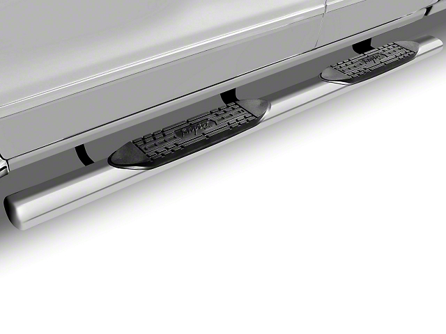 Raptor Series 5 in. Magnum Straight Oval Side Step Bars - Stainless Steel - Rocker Panel Mount (07-13 Silverado 1500)