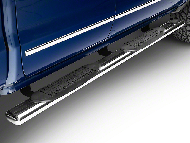 Raptor Series 5 in. Magnum Straight Oval Side Step Bars - Stainless Steel - Rocker Panel Mount (14-18 Silverado 1500)