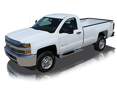 Raptor Series 6 in. Magnum Straight Oval Side Step Bars - Polished Stainless - Rocker Panel Mount (07-13 Silverado 1500)