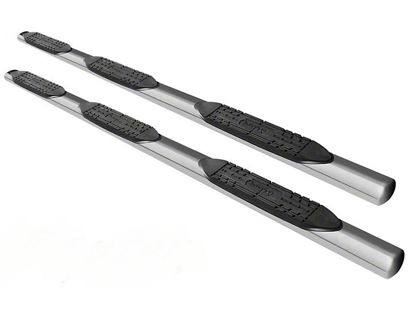 Raptor Series 5 in. Oval Wheel to Wheel Side Step Bars - Polished Stainless - Body Mount (14-18 Silverado 1500 Double Cab & Crew Cab w/ Standard Box)