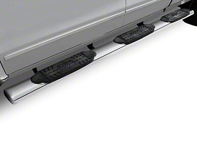 Raptor Series 5 in. Oval Wheel to Wheel Side Step Bars - Polished Stainless - Rocker Panel Mount (07-13 Silverado 1500 Extended Cab w/ Standard Box, Crew Cab)
