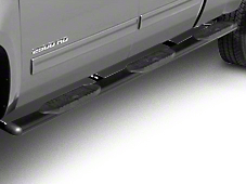Raptor Series 6 in. Oval Wheel to Wheel Side Step Bars - Black - Rocker Panel Mount (14-18 Silverado 1500 Double Cab, Crew Cab)