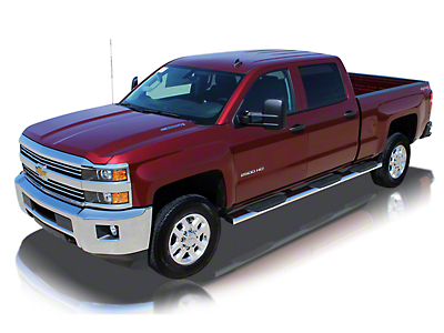 Raptor Series 6 in. Oval Wheel to Wheel Rocker Mount Side Step Bars - Polished Stainless (07-13 Silverado 1500 Extended Cab w/ Standard Box, Crew Cab)