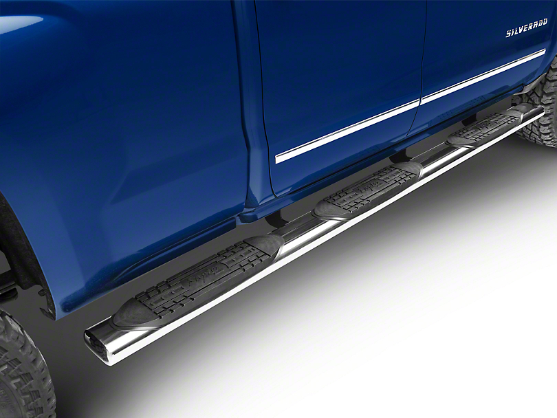 Raptor Series 6 in. Oval Wheel to Wheel Side Step Bars - Polished Stainless - Rocker Panel Mount (14-18 Silverado 1500 Double Cab, Crew Cab)
