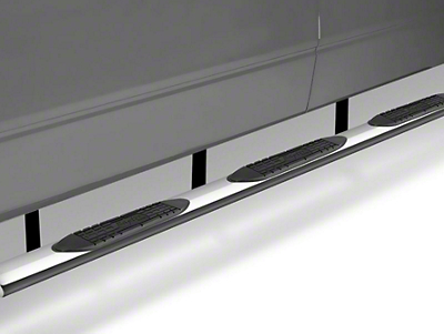 Raptor Series 6 in. Oval Wheel to Wheel Side Step Bars - Polished Stainless - Body Mount (14-18 Silverado 1500 Double Cab & Crew Cab w/ Standard Box)