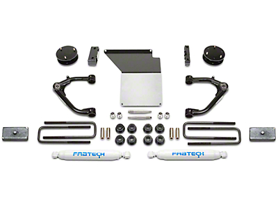 Fabtech 4 in. Uniball Upper Control Arm System w/ Performance Shocks (14-18 2WD/4WD Silverado 1500 Double Cab, Crew Cab w/ Stock Cast Steel Control Arms)