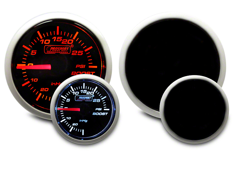 Prosport Dual Color 30 PSI Boost/Vac Gauge - Mechanical - Amber/White (99-18 Silverado 1500)