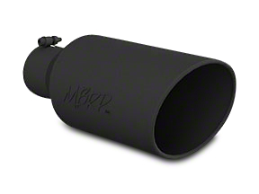 MBRP 7 in. Angled Roll Edge Exhaust Tip - Black Coated - 4 in. Connection (99-18 Silverado 1500)