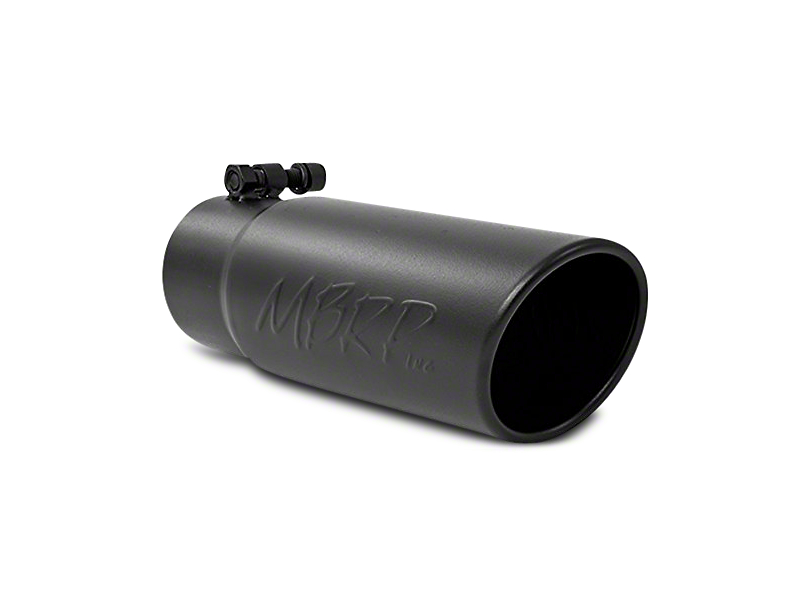 MBRP 3.50-Inch Black Angled Rolled Edge Exhaust Tip; 3-Inch Connection (Universal Fitment)